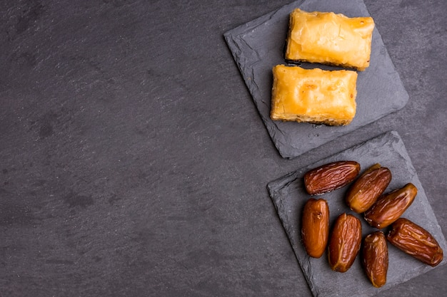 Dried dates fruit with eastern sweets