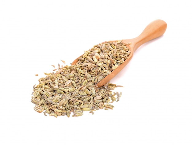 Dried fennel seeds  in a wooden spoon isolated on white