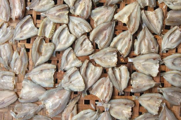 Dried fish on bamboo sieve