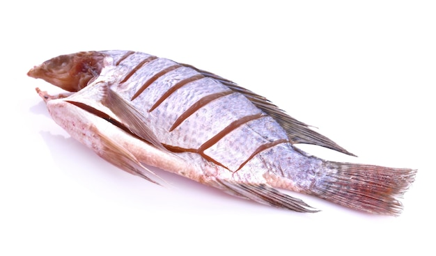 Сушеная рыба на белой поверхности