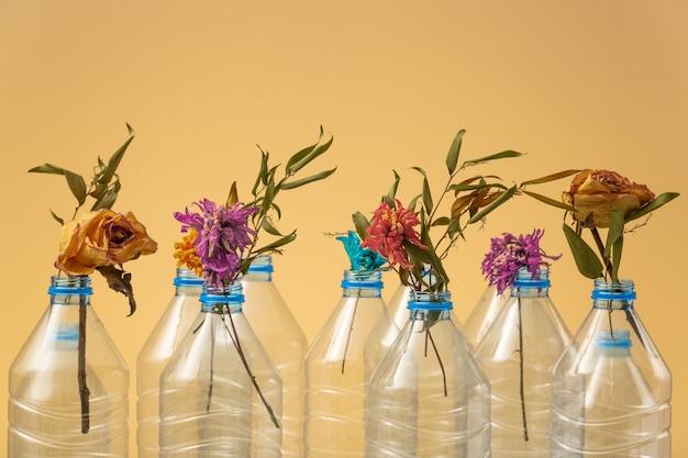 ペットボトルからの死にゆく生態系の象徴としてのペットボトルのドライフラワー