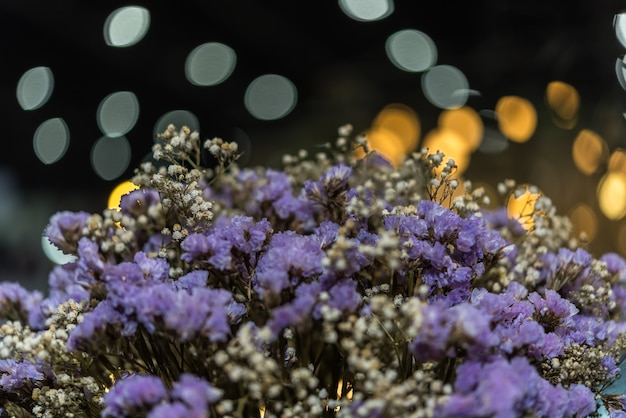 Dried flowers with statice flower in bouquet purple and yellow color use for decoration