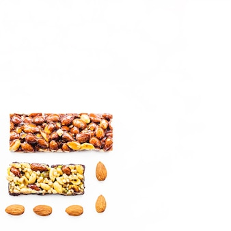 Dried fruits bar with space for text on white background