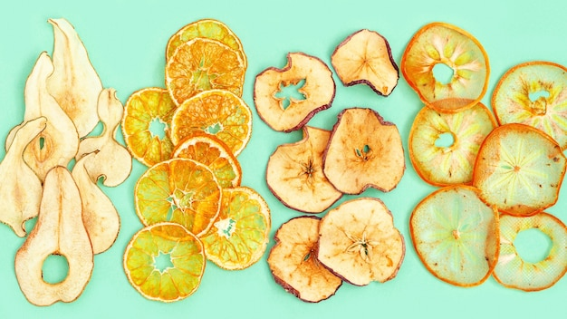 Dried fruits dehydrated fruit chips of apple tangerine persimmon pear