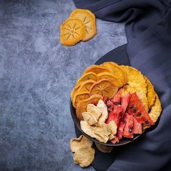 Dried fruits dehydrated persimmon watermelon pineapple apple chips