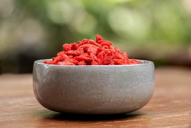 말린 goji, goji berry 또는 wolfberry, 자연의 과일.