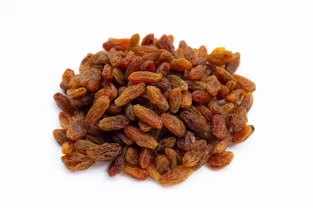 Dried grape raisins on white background