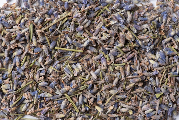 Dried lavender flowers, food background. lavender tea, flat lay.