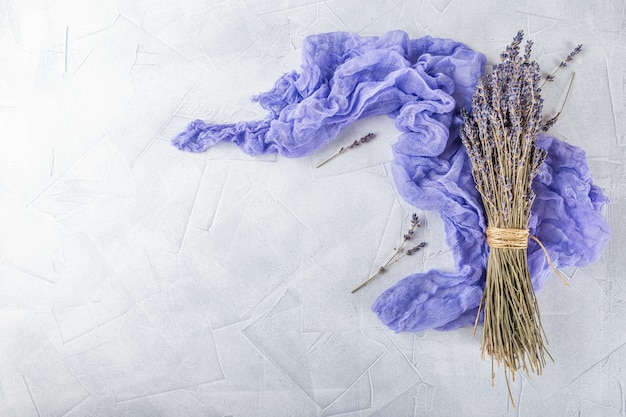 Dried lavender flowers on white decoration