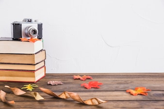 Dried leaves near books and camera