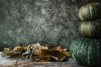 Dried leaves near stack of squashes