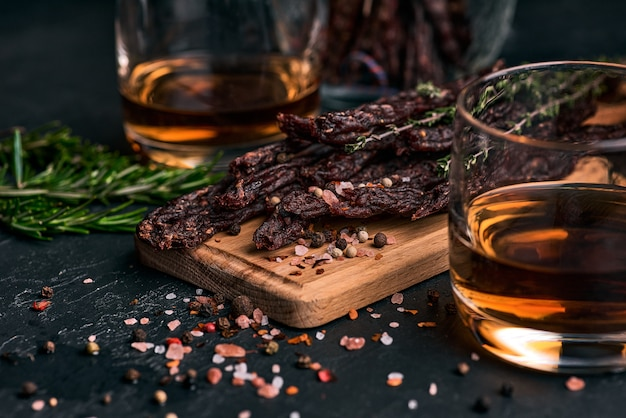 Dried meat slices with spices and herbs