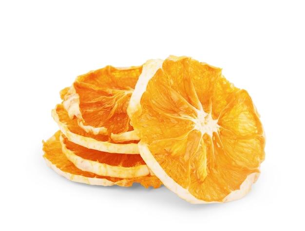 白で分離された乾燥オレンジスライス