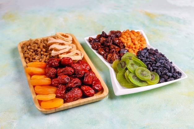 Dried organic fruits assortment.