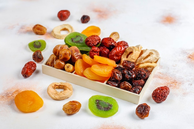 Dried organic fruits assortment.