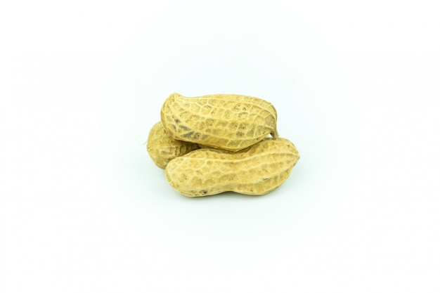 Dried peanuts isolated on white