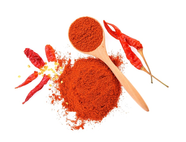 Dried peppers and cayenne pepper isolated on white,top view