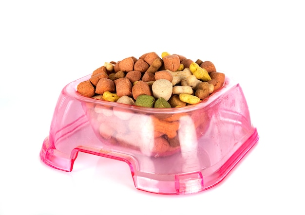 Dried pet food in front of white background