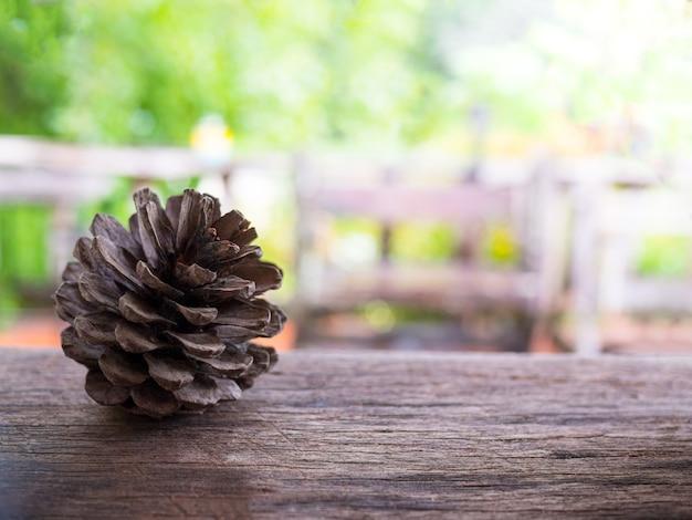 말린 소나무 콘은 흐린 녹색 식물과 나무 테이블에 배치됩니다.