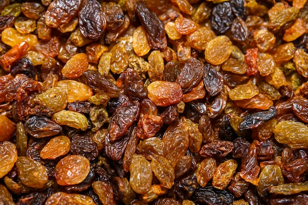 Dried raisins close-up
