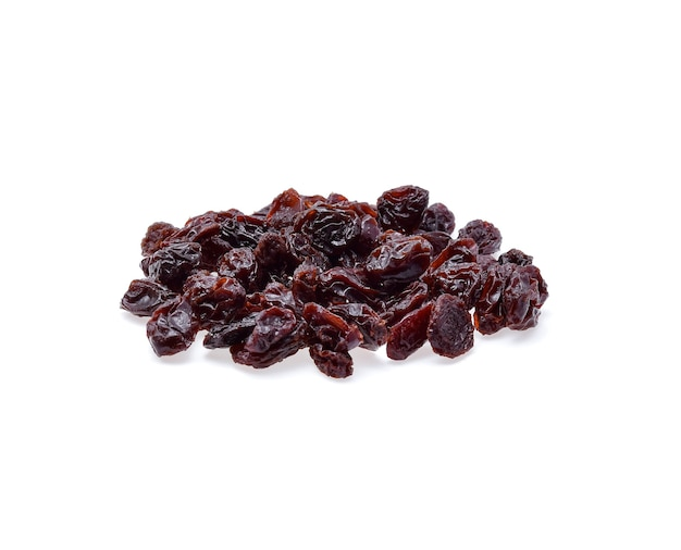 Dried raisins isolated on white