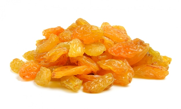 Dried raisins on a white isolated