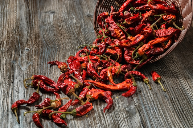 Dried red hot chilli pepper on wood