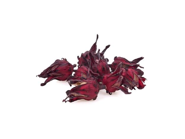 말린 된 roselle 꽃 흰색 절연