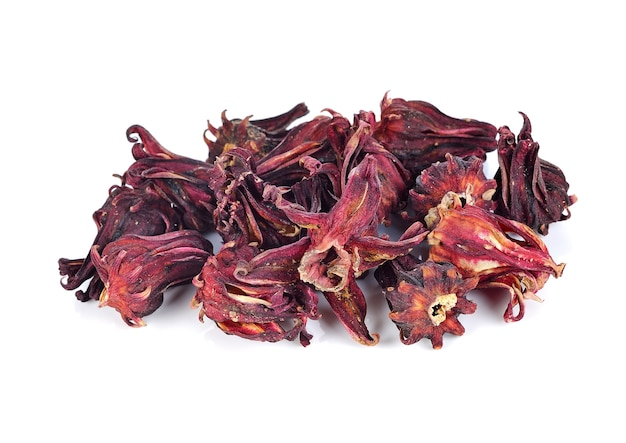 Dried roselle fruits isolated on white background.