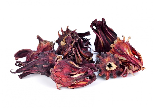Dried roselle fruits isolated