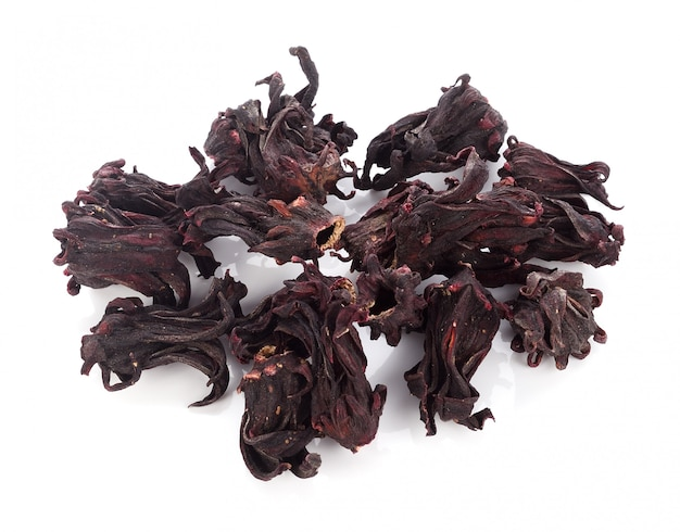 Dried roselle isolated on the white background.