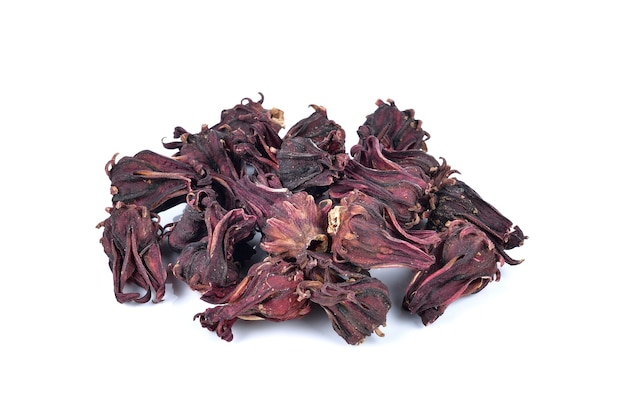 Dried roselle isolated on the white.