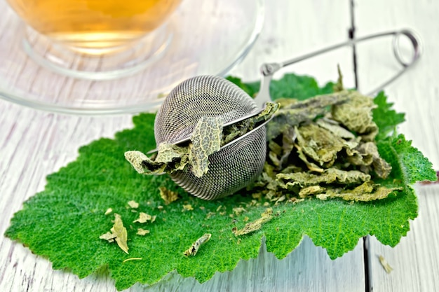 Dried sage in a strainer in the fresh sage leaves, a cup of herbal tea on a background of light wooden boards