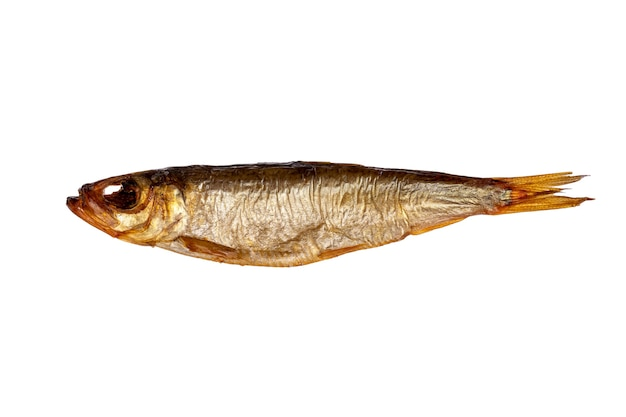 Сушеная сардина, изолированные на белом фоне. рыбный деликатес