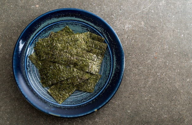 Dried seaweed on plate