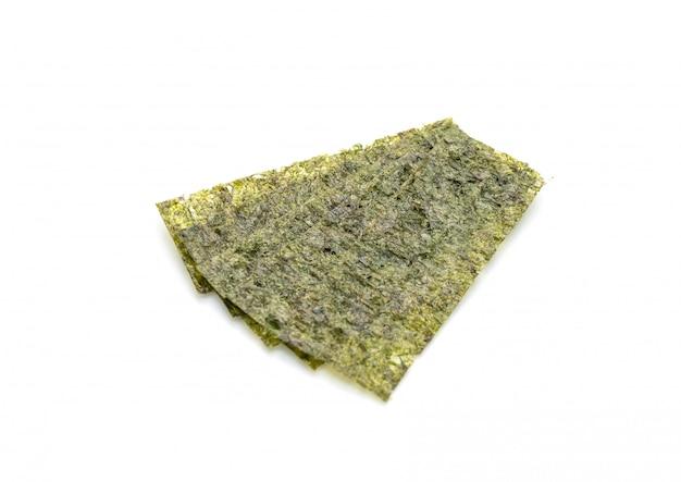 Dried seaweed on white