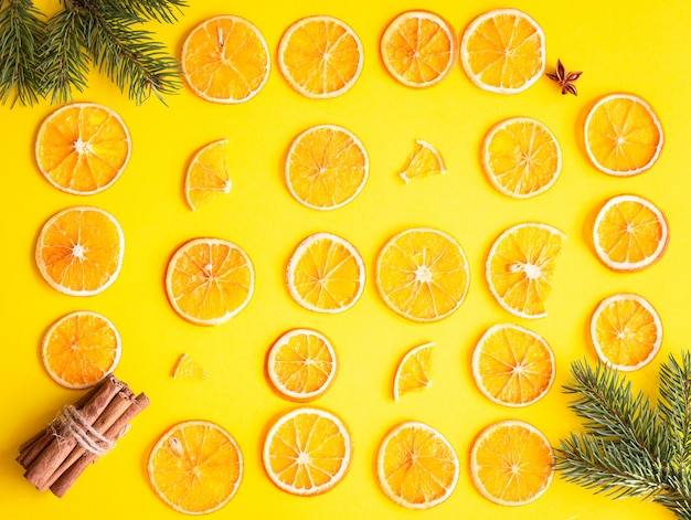 Dried sliced orange fruit texture. food frame. orange christmas or new year concept.