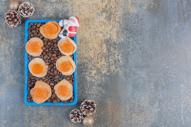 Dried slices of fruit with jelly candies and coffee beans. high quality photo