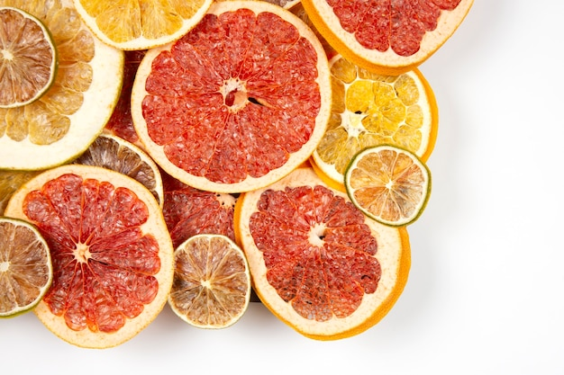 Dried slices of various citrus fruits