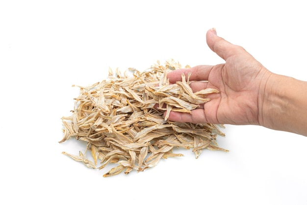 Dried small crispy bake fish isolated