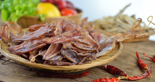 Dried squid on wood background