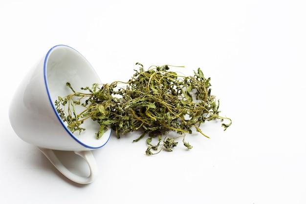 Dried stevia leaves on white