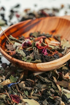 Dried tea heaped teaspoonful, closeup
