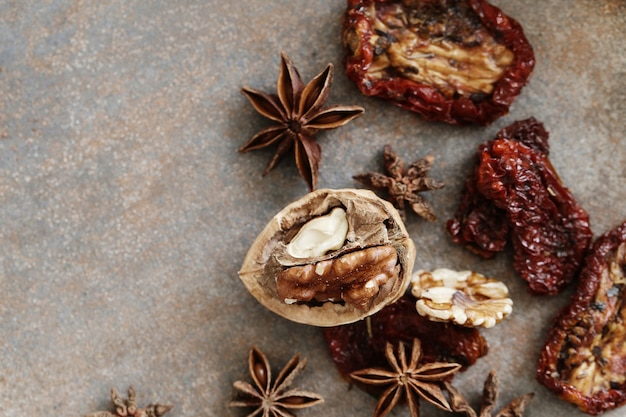 Dried tomato, walnut and anise star