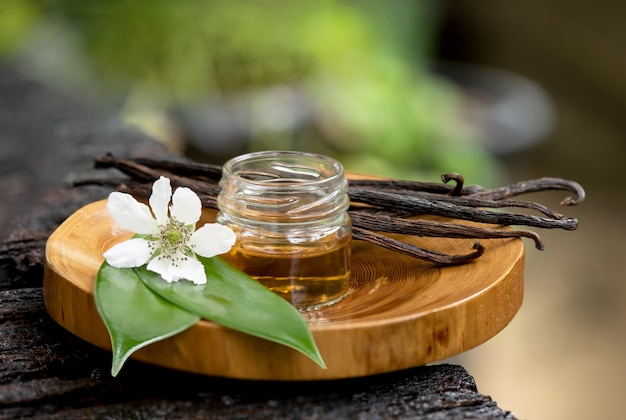 Dried vanilla pods and essential oil.