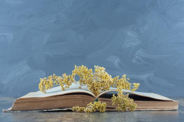 開いた本の上に黄色い花を乾燥させた。
