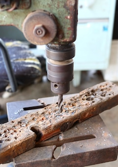 Drilling machine in the mechanical room.