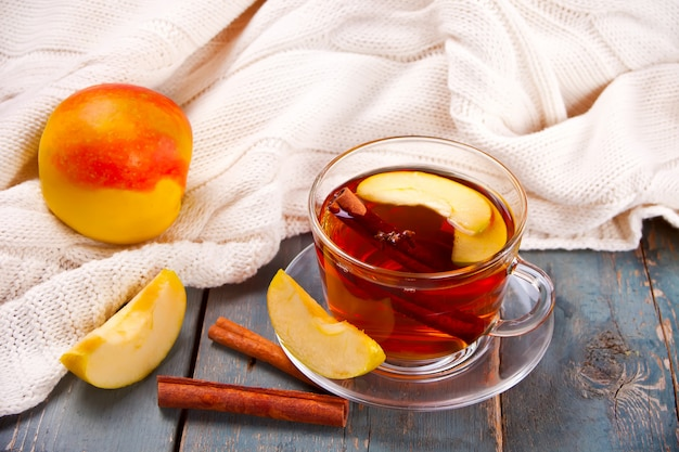 Drink of apple tea with cinnamon stick, star anise and clove.