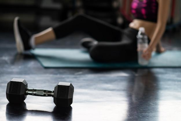 Drink break after dumbbell exercise
