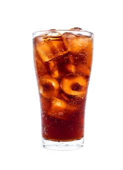 Drink cola with ice in glass isolated on white background